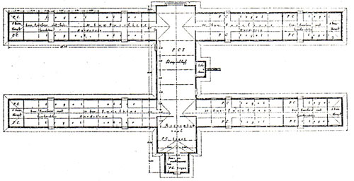 Denah barak prajurid pada komplek militer Belanda, pada abad transisi dari bad 19 ke abad 20